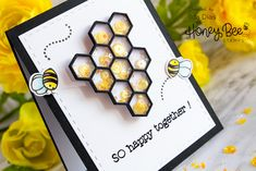 So Happy Together Interactive Spinner/Shaker Friendship Card ft. Honey Bee Stamps, Jan 2018, Bee Cards, Wink Of Stella, Fancy Fold Cards, Happy Together, Friendship Cards, Shaker Cards, Clear Stamps