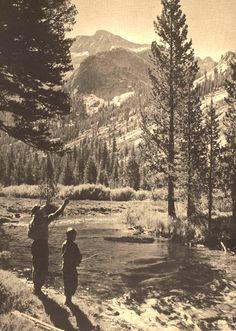 "oldfishingphotos:  ""Take a Boy Along"" South Bend Fishing Photo Contest Winner, 1944Josef Muench, Santa Barbara, CaliforniaSource:Antique Fi..."