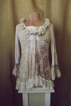 Boho Romantic Lagenlook Upcycled Floral Fae Linen Lace and Ruffle Blouse Size M-l
