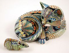 Ceramic mixed-print cat and mouse by David Burnham Smith. I'd love to make one out of polymer clay, or painted??