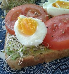 Avocado toast with sprouts, egg and tomato for breakfast
