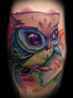 Owl tattoo blue and purple