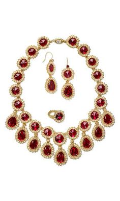 Jewelry Design - Bib-Style Necklace, Earring and Ring Set with Swarovski Crystal Beads and Embellishments and Seed Beads - Fire Mountain Gems and Beads