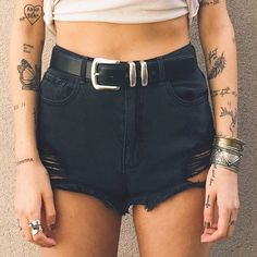 her casual shorts and belt (pants and shorts)