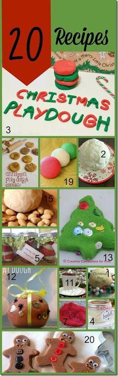 20 Christmas Playdough Recipes for Play(Christmas, kids activities, christmas activities for kids, sensory, play, playdough recipes)