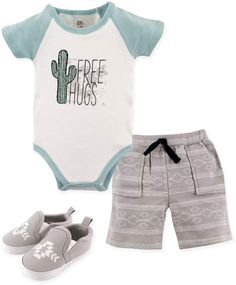 d84c02650 This adorable layette set from Yoga Sprout features a bodysuit, shorts, and  shoes, making it perfect for those warm summer days. This set has a  southwestern ...