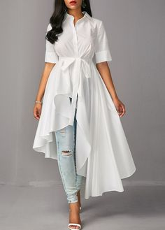 Half Sleeve Asymmetric Hem Belted White Blouse on sale only US$40.11 now, buy cheap Half Sleeve Asymmetric Hem Belted White Blouse at liligal.com