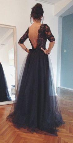 Custom made black v neck back backl.. #dress #buyable