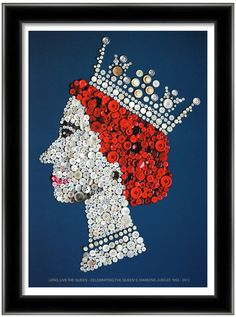 The Queen in celebration of her Diamond Jubilee, A3 giclee poster designed using vintage buttons. $45.00, via Etsy.