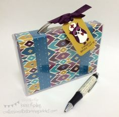 Confessions of a Stamping Addict Bohemian DSP Stampin' Up Lorri Heiling Suitcase made with stamp case