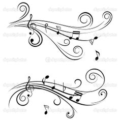 music staff images | Ornamental music notes | Stock Vector © soleilc #7408479