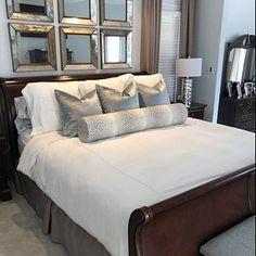 The Bolster : Antelope Linen Print // Grey bolster pillow Bedroom Bed, Master Bedroom, Bedroom Decor, Wood Headboard, Bolster Pillow, Printed Linen, Diy Pillows, King Beds, Furniture