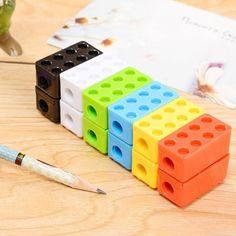 1b246946979 Cute Cartoon Kawaii Toy Brick Plastic Pencil Sharpener For Kids Creati