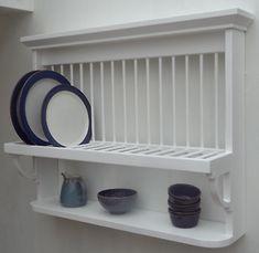 Kitchen Shelves, Kitchen Items, Basement Kitchen, Kitchen Cabinets, Diy Plate Rack, Kitchen Plate Rack, Kitchen Furniture, Kitchen Decor, Freestanding Kitchen