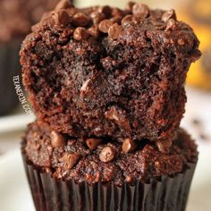 These paleo chocolate banana muffins are bursting with banana flavor and are super rich and decadent! (honey sweetened, grain-free, gluten-free and dairy-free)