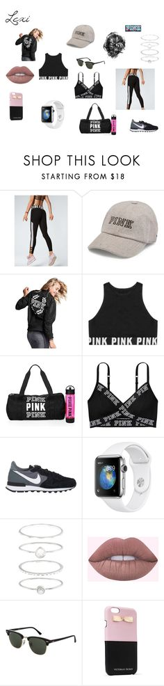"""PINK"" by lexiperez599 ❤ liked on Polyvore featuring Victoria's Secret, NIKE, Accessorize and Topshop"