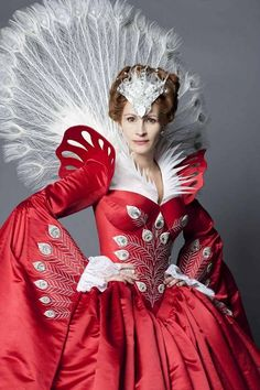 The Queen in MIrror Mirror movie 2012.  Played by Julia Roberts. She doesn't look evil, at all.
