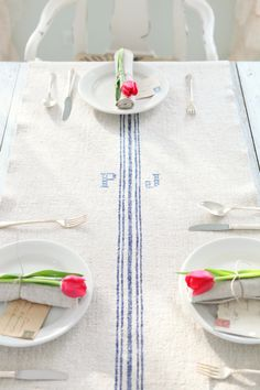 Antique hemp European grain sack table runner.  Embroidered blue monogram. Simple & country.