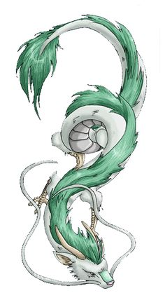 Haku from Spirited Away. I want him for my thigh tattoo. <3
