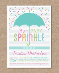 PRINTABLE BABY SPRINKLE Invitation  Baby Shower by kimberlyjdesign, $15.00