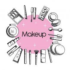 Set of make up accessories drawing Source by naamahpazos drawing Beauty Logo, Beauty Art, Makeup Collage, Makeup Backgrounds, Makeup Illustration, Makeup Artist Logo, Makeup Store, Makeup Essentials, Moda Instagram