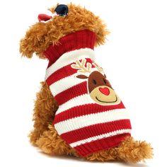 Reindeer Santa Claus Pet Dog Cat Sweater Christmas Warm Puppy Clothes Coat Costume