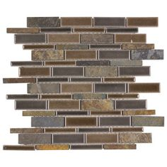 Elida Ceramica Natural Mountain Glazed Porcelain Mosaic Linear Indoor/Outdoor Thinset Mortar Wall Tile (Common: 12-in x 14-in; Actual: 11.75-in x 12 Inches)