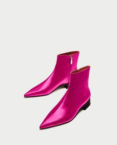 ZARA - SALE - SATEEN POINTED ANKLE BOOTS WITH LOW HEEL