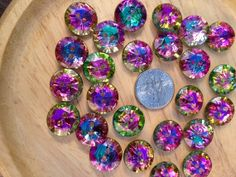 ROUND SPARKLE BUTTONS  2hole buttons  Rainbow sparkle by BeadEBoop, $2.15