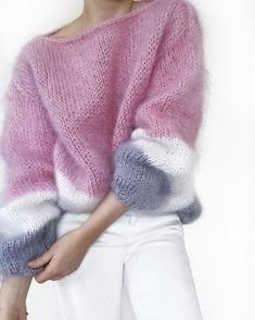 Ideas For Knitting Sweaters Inverno Pull Crochet, Knit Crochet, Sweater Knitting Patterns, Hand Knitting, Knitting Sweaters, Knitting Yarn, Baggy Sweaters, Knitting Needles, Pull Mohair