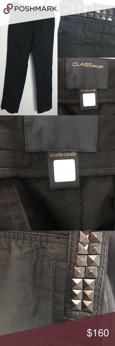 Roberto Cavalli Class rock stud black pants EUC These are in excellent condition. You could mistake for new. They have a slight sheen to them. Very subtle and these are very soft. 100% cotton  Bundle discount 20% Roberto Cavalli Pants