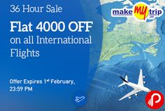 MakeMyTrip 36 Hour Sale brings Flat Rs.4000 Off on All International Flights. offer expires 1 feb. minimum booking value must be INR 18,000. Only 1 Booking per email id is valid for CashBack offer. Book any international flight to any destination from India on MakeMyTrip.com. MakeMyTrip Coupon Code – MMT4000  http://www.paisebachaoindia.com/flat-rs-4000-off-on-all-international-flights-36-hour-sale-makemytrip/