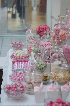Chanie can you start saving glass jars and bring them up for c's party and we can just tie pretty pink ribbon around so I can save money and just buy a couple of pretty lollie jars? xx