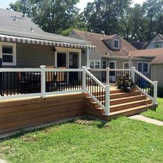 Deck railing isn't just a safety and security attribute. It can include a stunning aesthetic to mount a decked area or deck. These 36 deck railing ideas reveal you just how it's done! Stair Railing Kits, Deck Stairs, Deck Railings, Railing Ideas, Vinyl Railing, Horizontal Deck Railing, Front Porch Railings, Privacy Fence Designs, Backyard Patio Designs