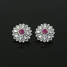 Ruby Pink CZ Clip On Shiny Silver Rhodium Plated Floral Stud Earrings for Women Diamond Earrings Indian, Gold Bar Earrings, Diamond Earing, Jewelry Design Earrings, Gold Earrings Designs, Gold Jewellery Design, Ear Jewelry, Diamond Jewellery, Bridal Earrings