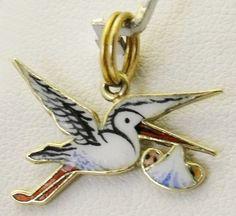 14k gold 2-sided enamel stork bringing baby charm