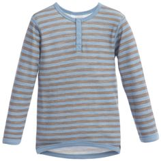 Joha - Blue Striped Wool & Bamboo Thermal Top |