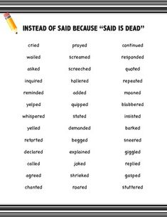"""""""SAID IS DEAD"""" FREEBIE!! Synonyms for """"said"""" - this resource is perfect for student binders/notebooks."""