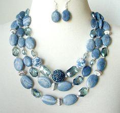 Denim Blue Statement Necklace, Multi Strand Gemstone Necklace, Big Bold Chunky Necklace, Large Bead Artisan Necklace, Necklace Earring Set