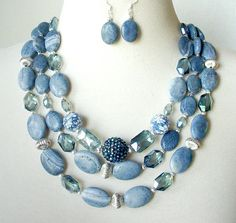 http://rubies.work/0414-sapphire-ring/ Denim Blue Statement Necklace, Multi Strand Gemstone Necklace, Big Bold Chunky Necklace, Large Bead Artisan Necklace, Necklace Earring Set