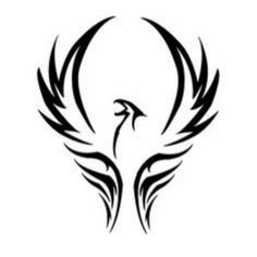 Black Tribal Flying Phoenix Tattoo Design