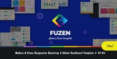 #Fuzen - #Modern & #Clean Responsive #Bootstrap 4 Admin Dashboard Template + UI Kit - Admin #Templates #Site Templates Admin Panel Template, Dashboard Template, Blogger Templates, Business Templates, Ui Components, Folder Organization, Html Website Templates, Ui Kit, Material Design