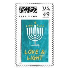 Shop Love and Light menorah and candles in aqua blue Postage created by Personalize it with photos & text or purchase as is! Custom Postage Stamps, Holiday Greeting Cards, Personalized Ornaments, Menorah, Self Inking Stamps, Address Labels, Love And Light, Holidays And Events, Aqua Blue