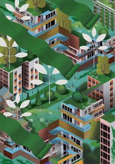 Life in the City on Behance in Isometric/flat