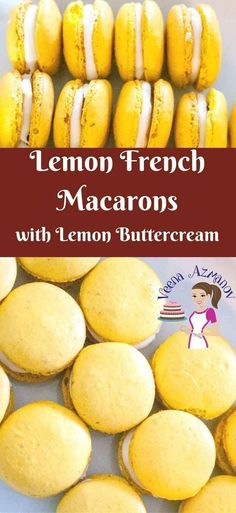 French Macarons are in trend all year round;especially Lemon French Macarons. Take a few of these over with you and every body will think you are a master Macaron baker. These are simple easy and delicious to make. via Lemon Macarons, how to Macarons Easy, Macaroons Flavors, Lemon Macaroons, How To Make Macaroons, French Macaroons, Macaroon Filling, Macaroon Cookies, Lemon Macaron Recipe, Macron Recipe