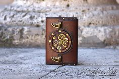 Handmade Steampunk leather notepad cover by MeoLeathercraft