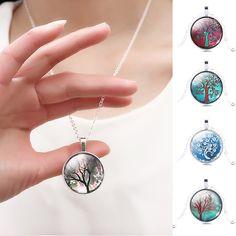 1Pcs Bronze Tree of Life Cabochon Glashängende Kettenhalskette-Geschenke heiß