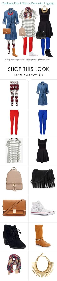 """""""Dress with Leggings"""" by stylebyemilyb on Polyvore featuring Michael Kors, Boutique Moschino, MICHAEL Michael Kors, White House Black Market, Forever 21, Converse, Clarks, Rachel Zoe, Look by M and Winter"""