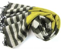 French Stripe Scarf- Army Green - Clever Girl