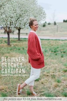 Two simple crochet hexagons transform into a lightweight, on-trend cardigan complete with cozy pockets and roomy bishop sleeves. This easy crochet sweater pattern and tutorial makes a great first garment for beginners and is perfect to wear in the spring or summer. Plus sizes included!